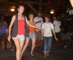 Line dancing to cotton eyed Joe