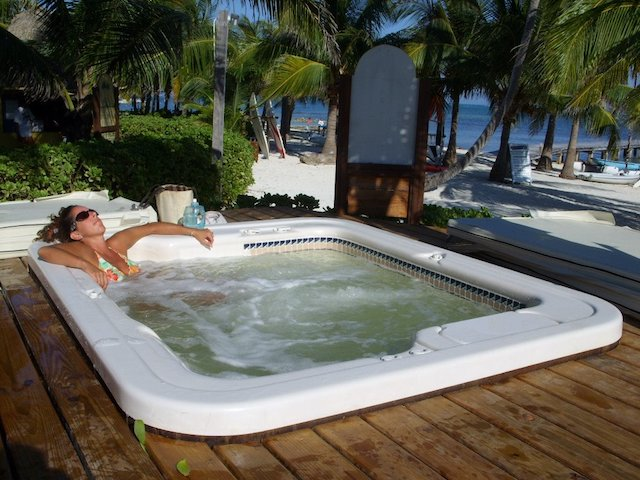 Laura in the hot tub at Caribbean Villas