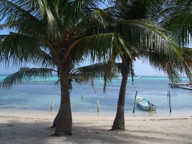 Beach view from Estel's restaurant, Ambergris Caye