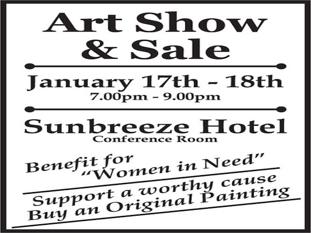 """Art show and sale ad for """"women in need'"""