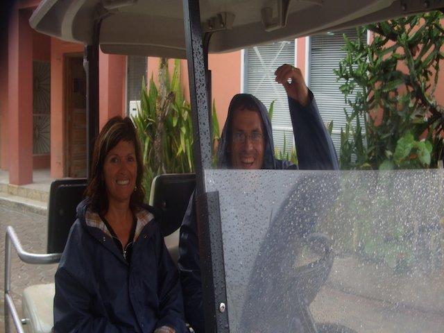 Carole & Dick in the rain