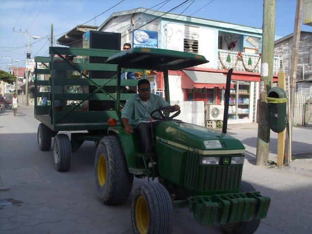Delivering a fridge with a tractor