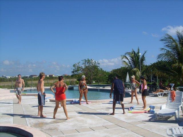 Stretching before aqua-fit class