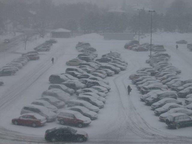 Toronto snowy parking lot