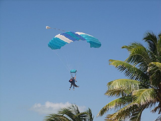 Blue & white parachute