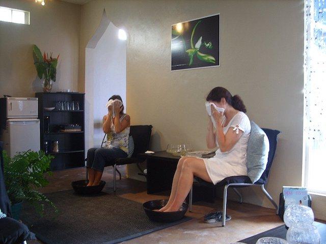 Foot wash & face wash at Black Orchid Spa