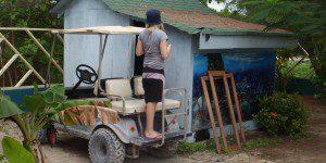 Erin standing on cart