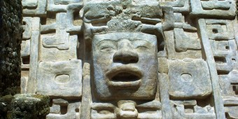 Carved head at Lamani Maya Ruin Belize