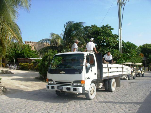 Guys on back of truck