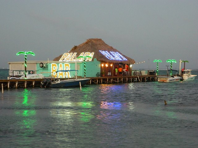 Night picture of Palapa Bar Belize